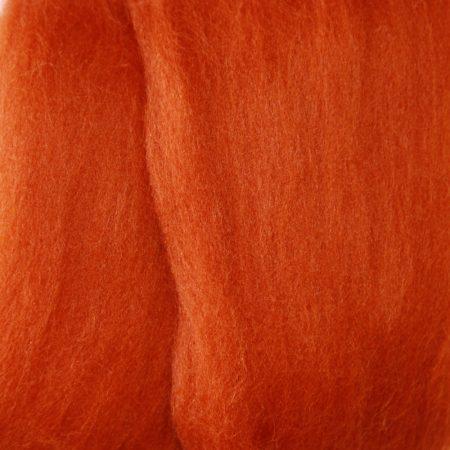 merino wool top single color russet brown rust