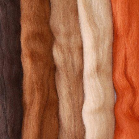 Merino wool top brown medley